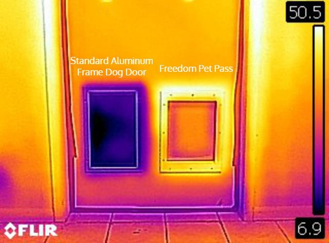 FLIR infra-red thermal image showing how well Freedom Pet Pass energy-efficient pet doors insulate and keep extreme cold winter weather out.